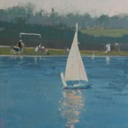 Bournville Boating Pond, oil on board 42 x 30 cm POA