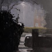 Dark Hours Rain, oil on board 41 x 31 cms POA