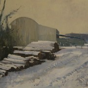 Timber Yard Winter, oil on canvas 76 x 101 cms