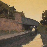 Towpath & Bridge, oil on canvas 90 x 122 cm POA