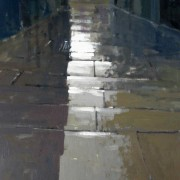 Wet Flagstones, oil on board 43 x 30 cms
