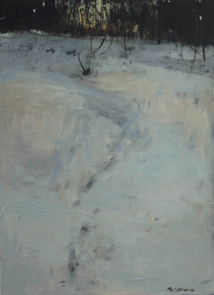Woodland-Snow--oil-on-board--16-x-12-ins
