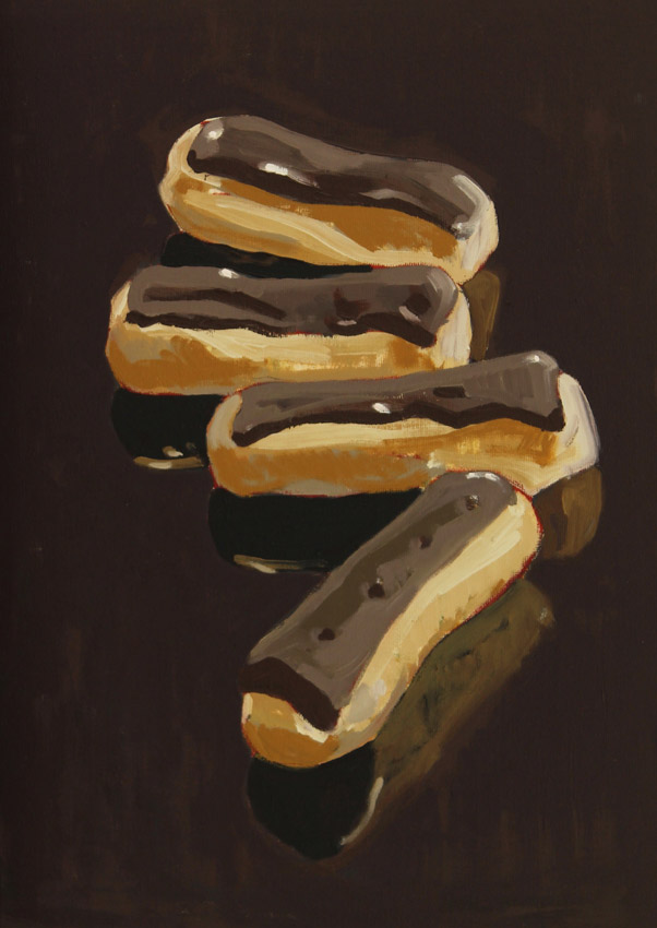 Chocolate-Eclairs-oil-on-board-16-x-12-ins