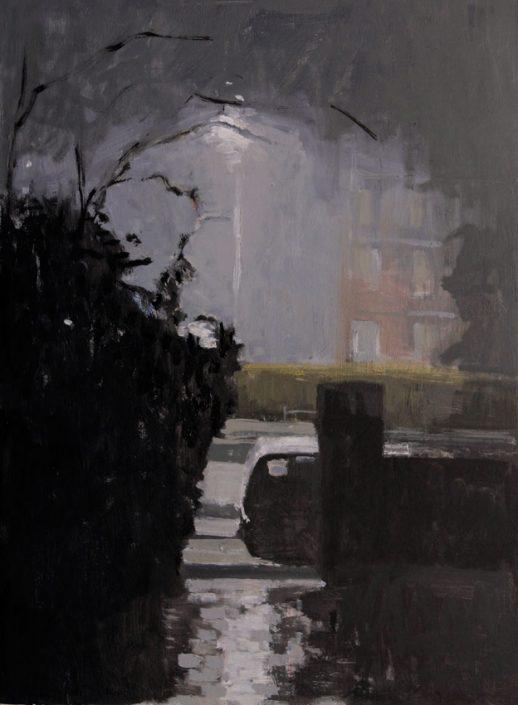 Dark Hours Rain, oil on board 41 x 31 cms POA
