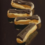 Chocolate Eclairs, oil on board 16 x 12 ins POA
