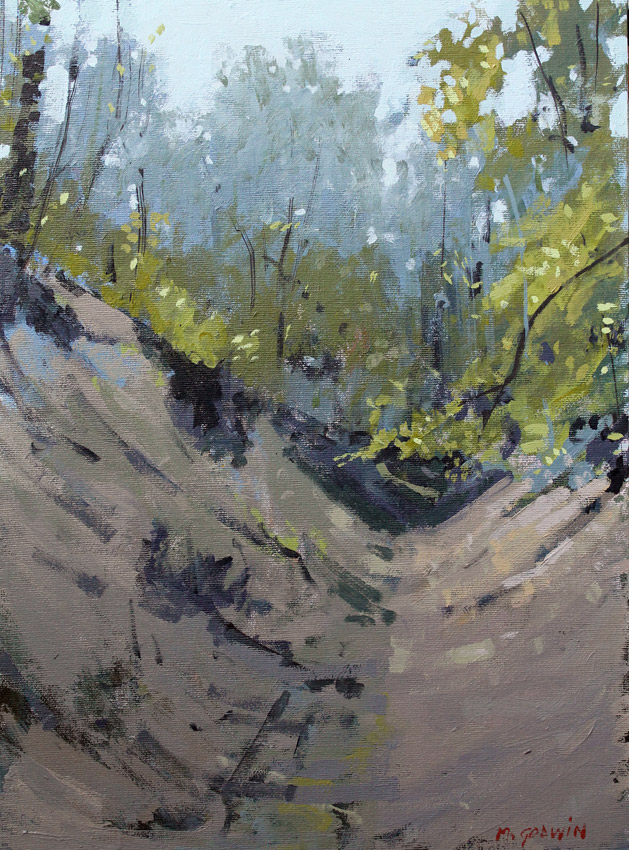 Woodland Walk, oil on board 16 x 12 ins