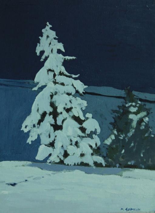 Winter's Night, oil on board 40 x 30 cm POA
