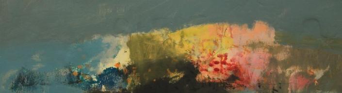 Headland 10, acrylic on paper 18 x 58 cm