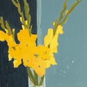 Yellow Gladioli, oil on board 40 x 30 cm